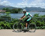 Discoveries by mountain bike among lake and mountains